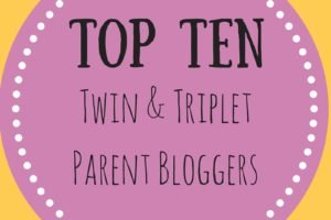 Badge for top ten bloggers series twin and triplet parent bloggers