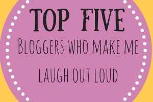 Badge for Top five bloggers who make me laugh out loud