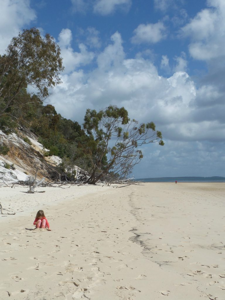 Fraser Island picture of girl on beach
